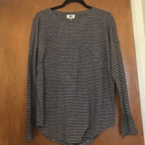 Black & Gray Old Navy Striped Long-Sleeve, Size S
